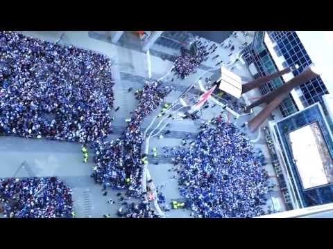 Maple Leafs Square crowd cheers as Cody Franson scores Leafs first goal (PP) in game 7 to tie Boston