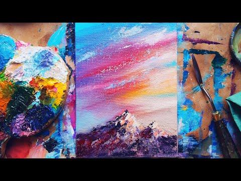ГОРЫ И РАССВЕТ |Рисуем красками просто💫