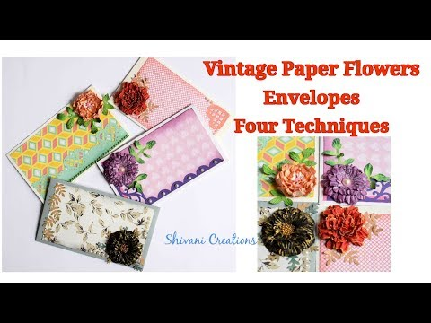 Vintage Paper Flower Envelopes/ DIY Paper Flowers/ Joy Craft Flowers/ Shagun Envelopes
