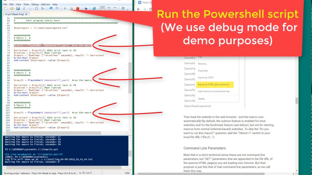 Run one macro after another with the Kantu command line API
