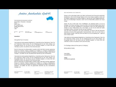 Word 2013, 2016: Geschäftsbrief erstellen - professionelles Anschreiben [DIN 5008, Muster Vorlage]
