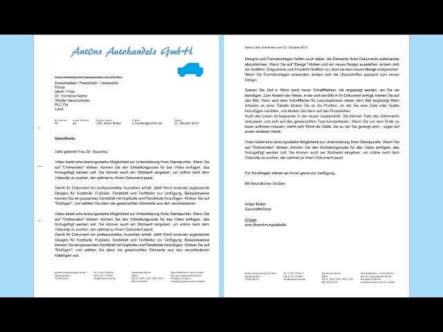 Word 2013 2016 Geschäftsbrief Erstellen Professionelles
