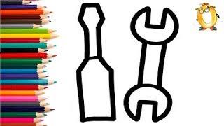 Раскраска для детей ОТВЁРТКА И ГАЕЧНЫЙ КЛЮЧ. Мультик - Раскраска. Учим цвета II ОБУЧАШКА ТВ