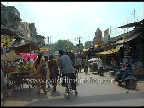Driving through market areas of Allahabad