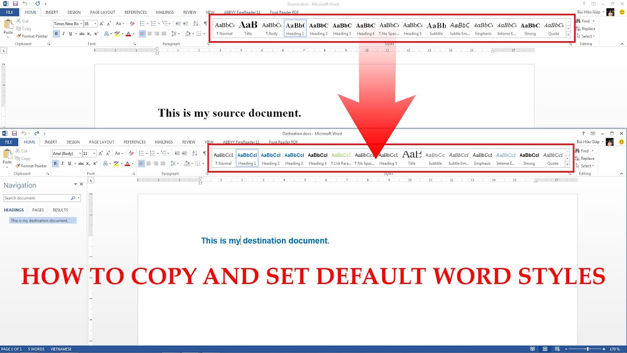 how to copy word styles  set default styles and export