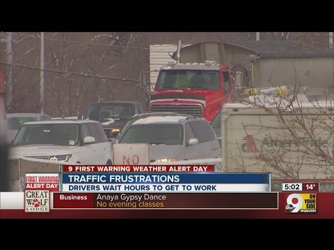 Drivers frustrated with traffic during wintry road conditions.
