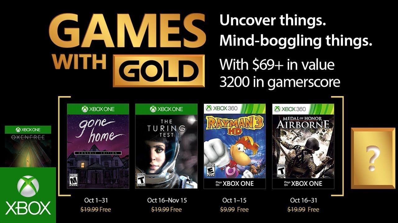 Xbox Live Games With Gold For October 2017