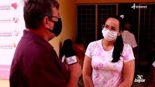 Carol Rabelo, enfermeira e gerente da UBS de Castanhão, fala das ações da tenda da saúde.