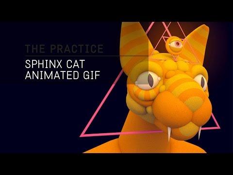 The Practice // 23 / Sphinx Cat Animated Gif in Cinema 4d