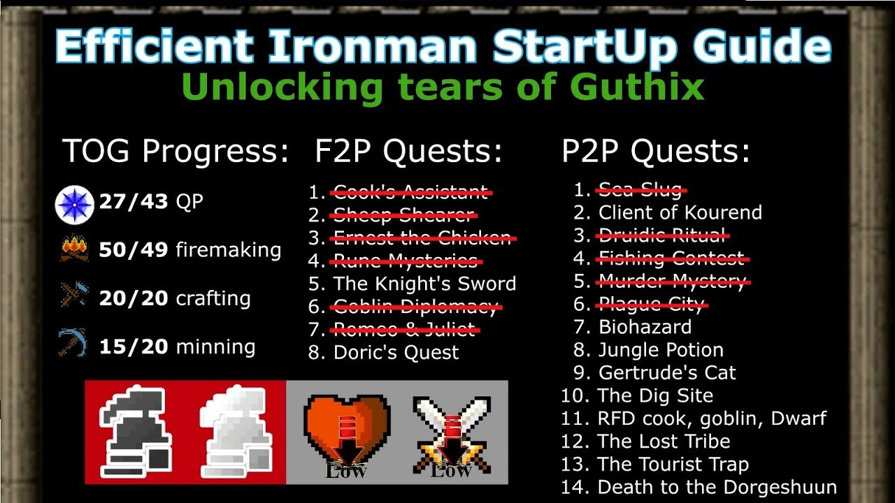 [OSRS] Efficient Ironman & UIM Start Up Guide (Path to TOG 5 l 9) -  GnarsNest