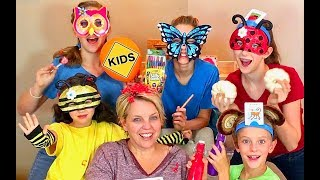 Family Unboxing Room! Learn English Words with Sign Post Kids! Animal Masks!