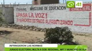 Jurado electoral multa a gobierno regional, municipalidad y munipio de Victor Larco - Trujillo