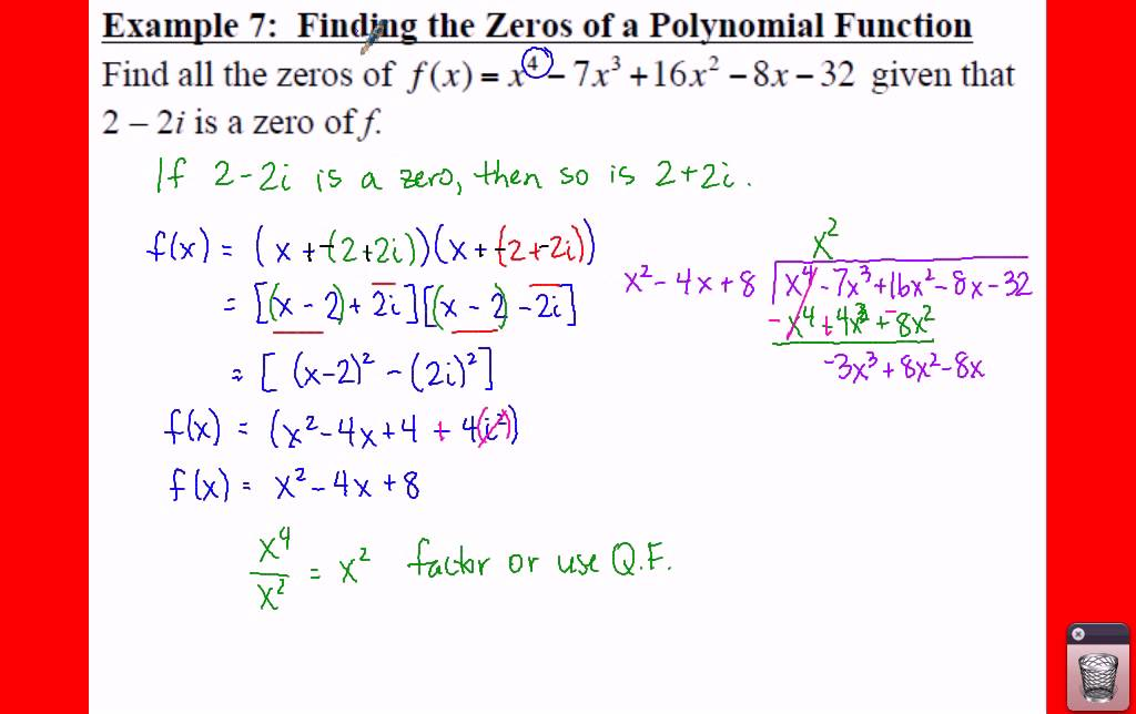 Pre Calculus 25 The Fundamental Theorem Of Algebra Lessons