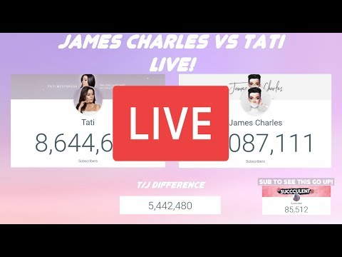 James Charles vs Tati live sub count! (End of James Charles watch party) thumbnail