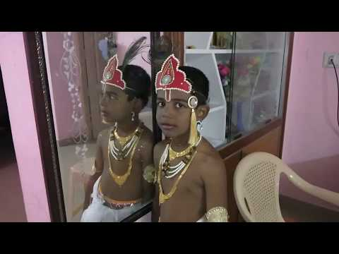 How to Drape Dhoti //Dhoti draping for kids on Krishnastami//Krishna Make up