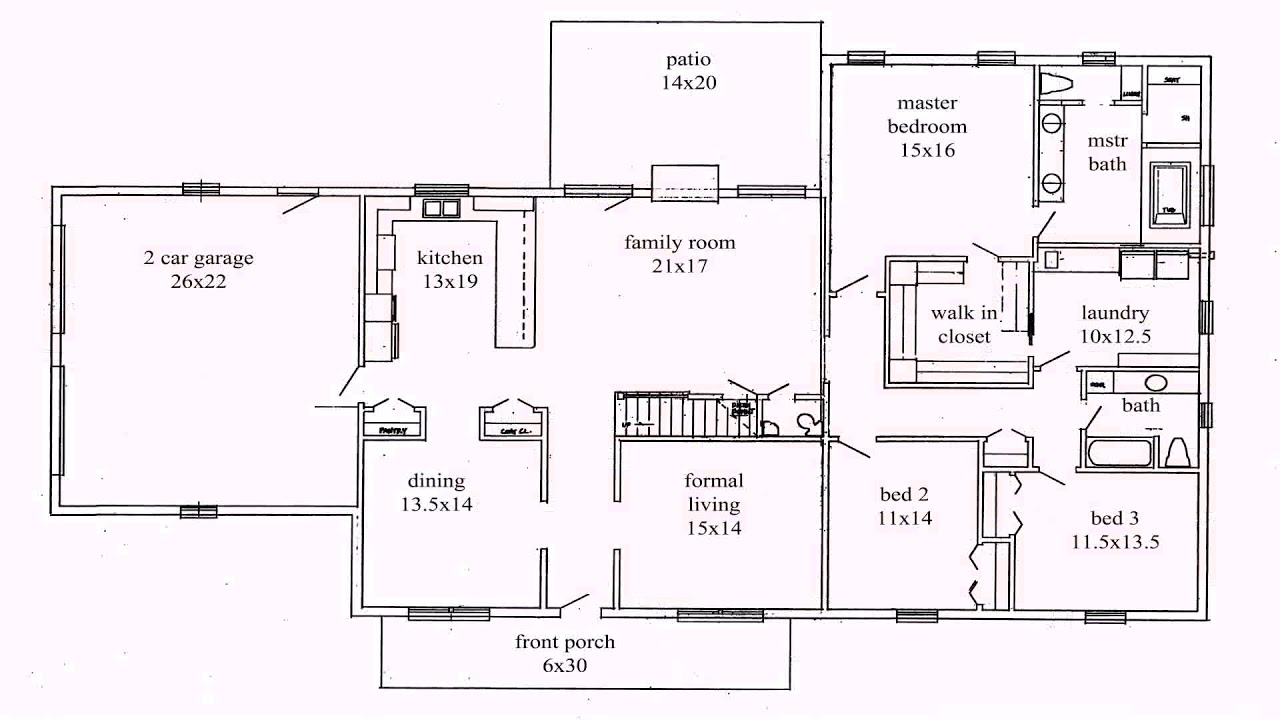 4 bedroom split ranch house plans youtube rh youtube com Ranch House Plans with Open Floor Plan Home Plans with Split Bedrooms