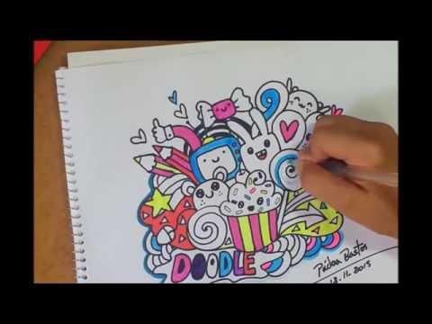 colorindo um desenho fofo doodle kawaii youtube