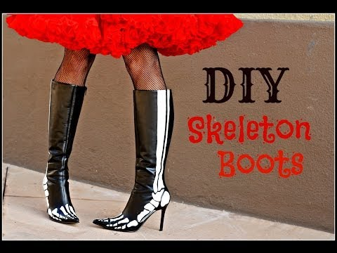 DIY Skeleton Boots , glow in the dark!