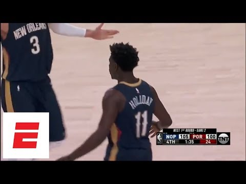Jrue Holiday, Rajon Rondo hit clutch 3s to give Pelicans 2-0 series lead on road over Blazers | ESPN