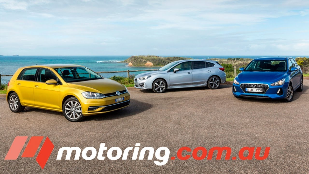 Hyundai i30 v Subaru Impreza v Volkswagen Golf | motoring.com.au - Dauer: 4 Minuten, 11 Sekunden