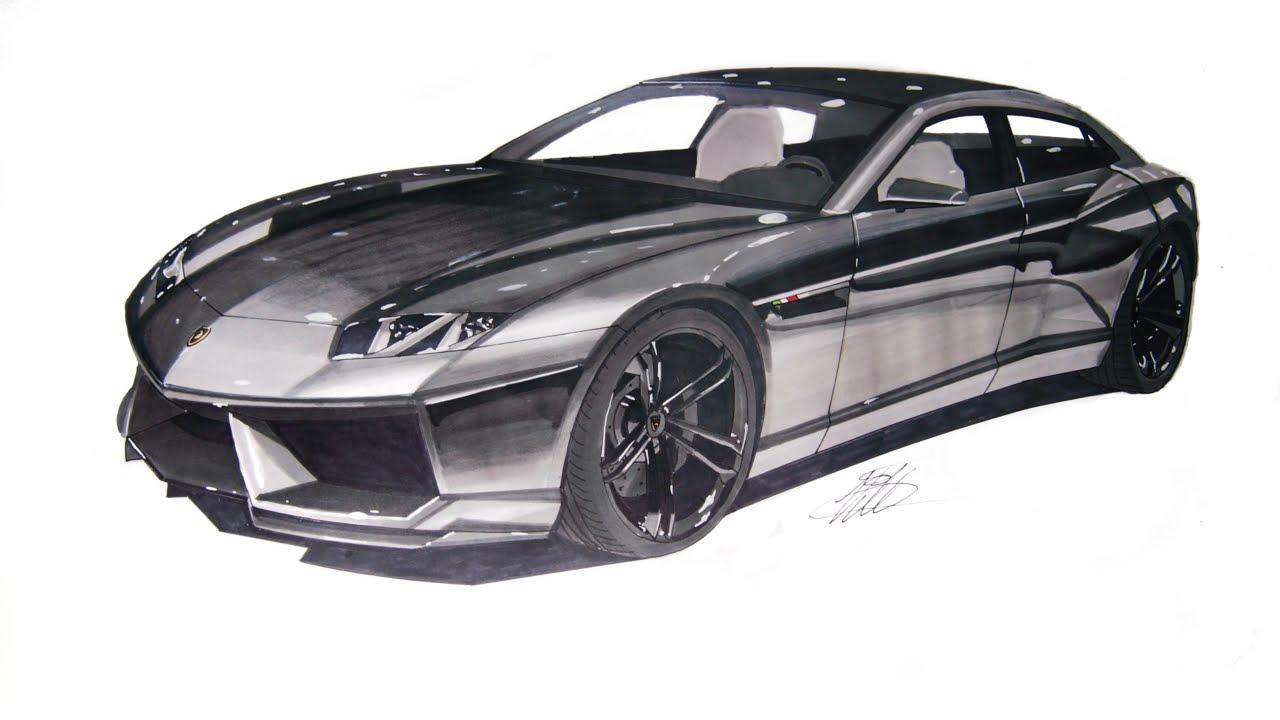 Realistic Car Drawing - Lamborghini Estoque - Time Lapse - YouTube