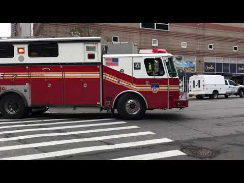 FDNY RESCUE 1, USING THE OLD SAULSBURY RESCUE 4 RIG, RESPONDING WITH SOME NICE AIR HORN ON 11TH AVE.