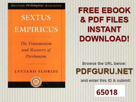 Sextus Empiricus The Transmission and Recovery of Pyrrhonism American Philological Association Ameri