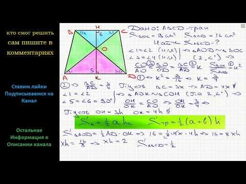Геометрия Диагонали AC и BD трапеции ABCD пересекаются в точке O. Площади треугольников AOD и BOC