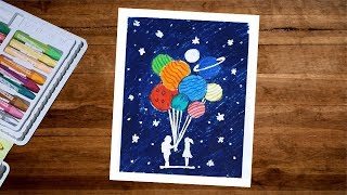 Astronaut Drawing - How To Draw Galaxy Gift To Girl With Oil Pastel Step By Step