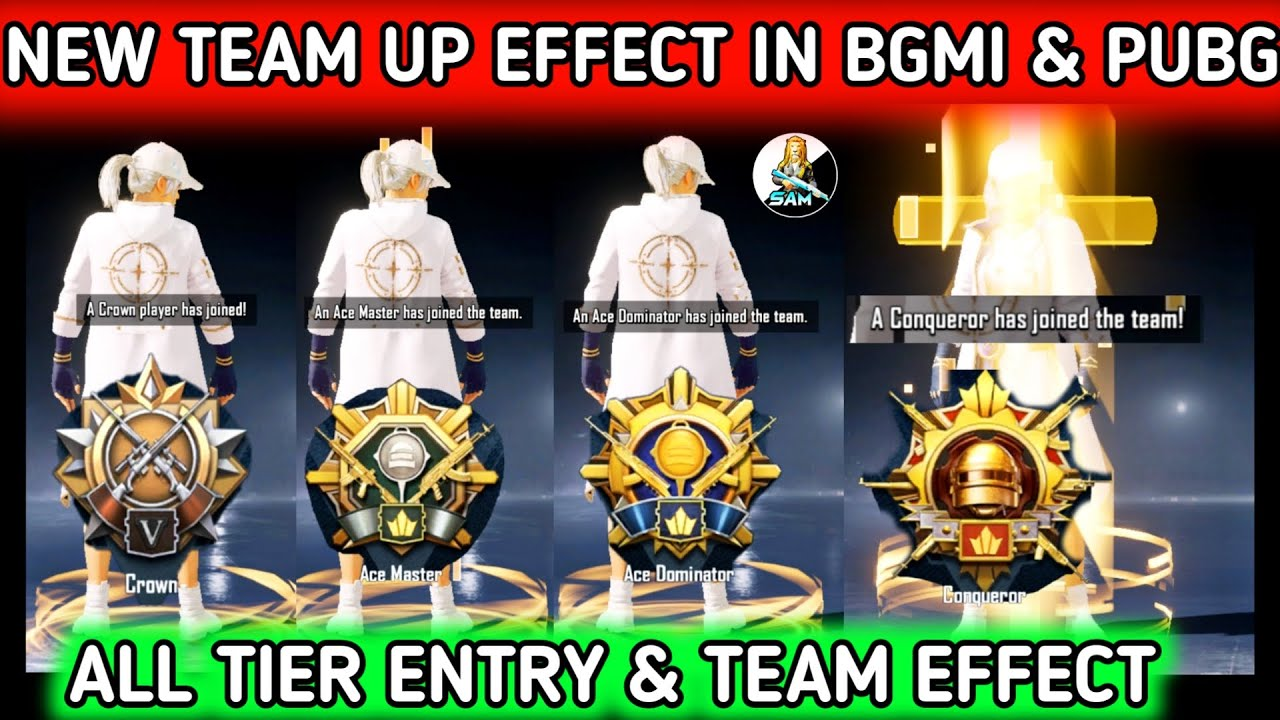 Download ALL TIER ENTRY TEAM UP EFFECT BGMI 🔥 NEW CROWN , ACE , MASTER , DOMINATOR & CONQUEROR TEAM UP EFFECT