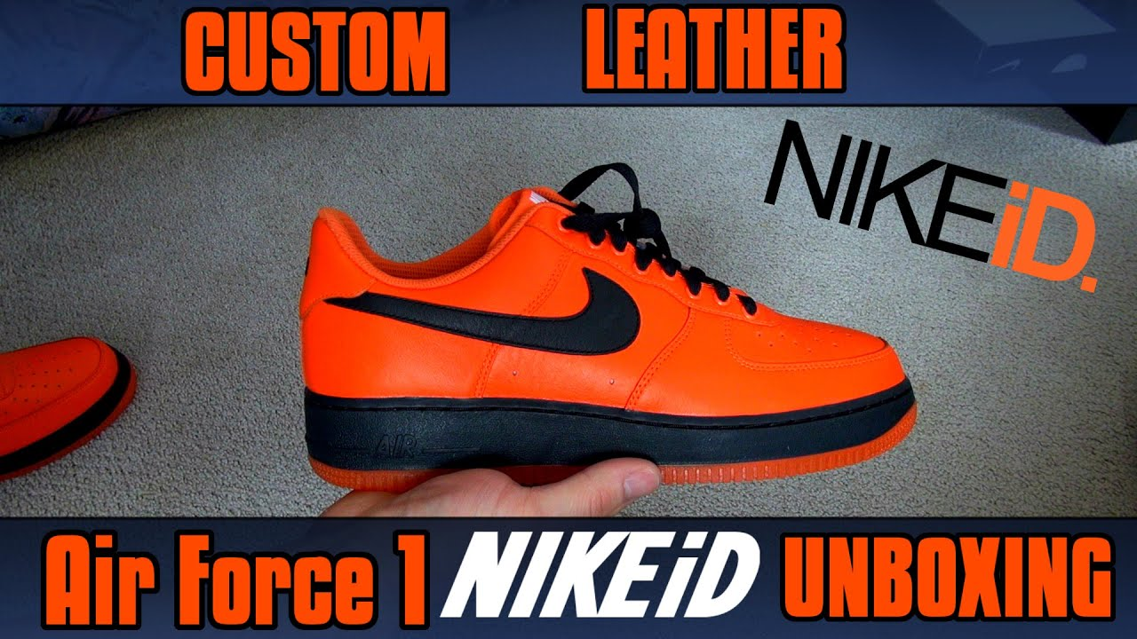 8b0c8e65e38 Custom Air Force 1 Nike iD UNBOXING (ORANGE + BLACK) - YouTube