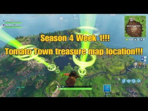 FortNite - Season 4 Week 1!!! Tomato Town Treasure Map Location Revealed!!!
