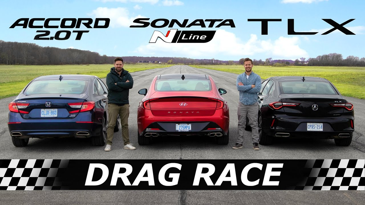 2021 Acura TLX vs Honda Accord vs Hyundai Sonata N Line // DRAG & ROLL RACE