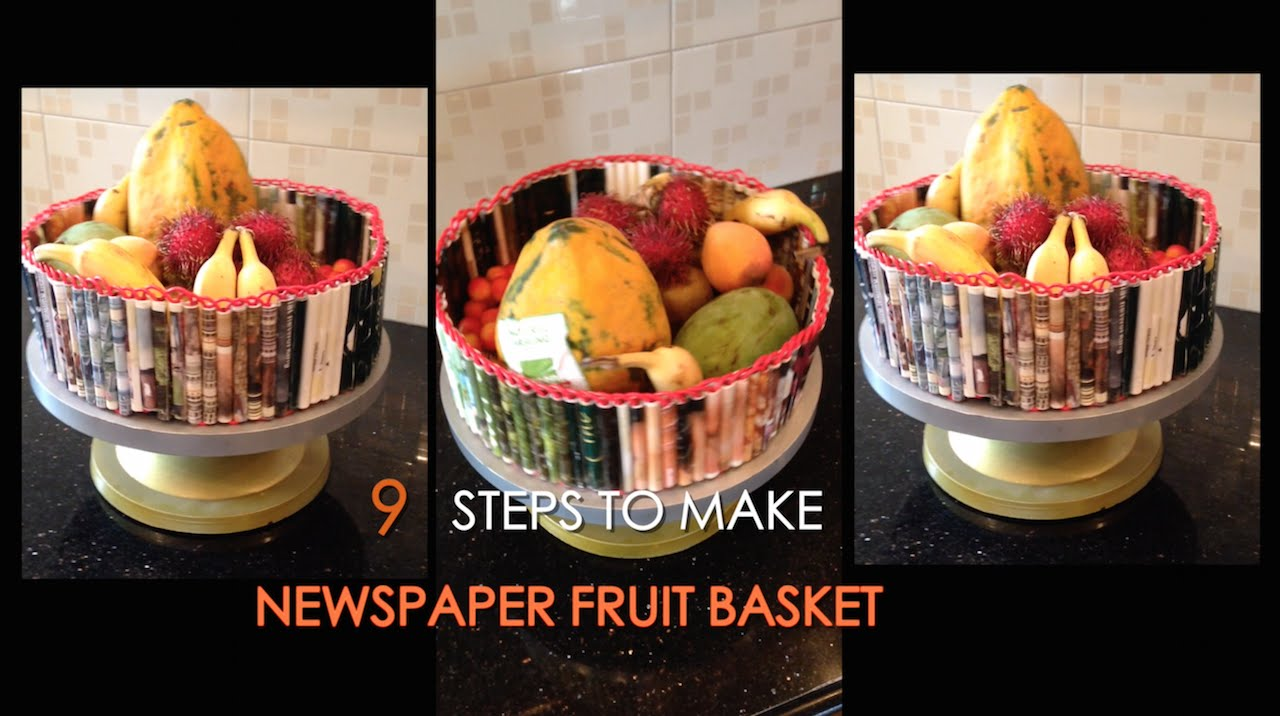 How To Make A Newspaper Basket With Top : How to make a newspaper fruit basket best from waste