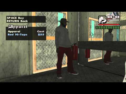 GTA San Andreas buy Clothes from Binco, Sub-Urban and Prolap
