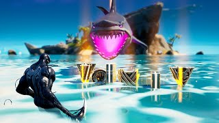 Fortnite Feeding All Mythic Weapons to a Loot Shark in One Game