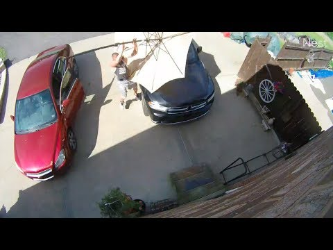 Bodhi - Man Catches a Flying Patio Umbrella Headed Right for His Car (Video)