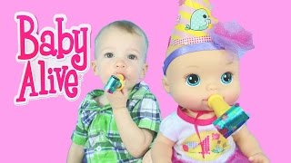 Baby Alive BIRTHDAY Party Baby Doll Pee DIAPER SURPRISE Play-Doh Fluffy Baby Shopkins Cute Fun Toy