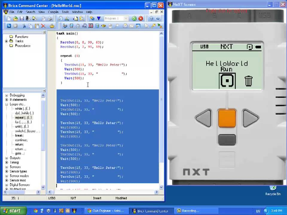 Mindstorms NXT - Introduction to NXC Programming - 05 - Flashing text on  the screen - repeat loop
