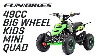 FunBikes 49cc Green Kids Big Wheel Mini Quad Bike