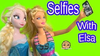 Cell Phone Selfies With Queen Elsa From Disney Frozen - Barbie Doll Playset Play Video Cookieswirlc