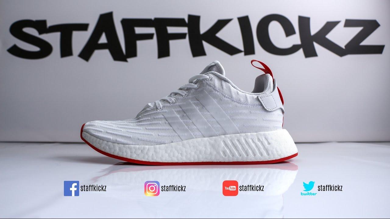 adidas x nmd r2 pk primeknit nucleo rosso / bianco particolareggiata su