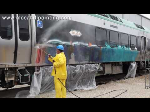 McCahill Graffiti Removal From A Train in Chicago