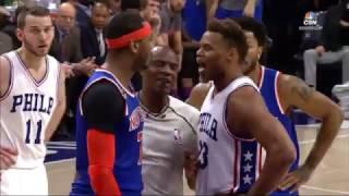 Carmelo Anthony and Justin Anderson scuffle | Knicks vs Sixers | 3.3.17 | 16-17 NBA Season
