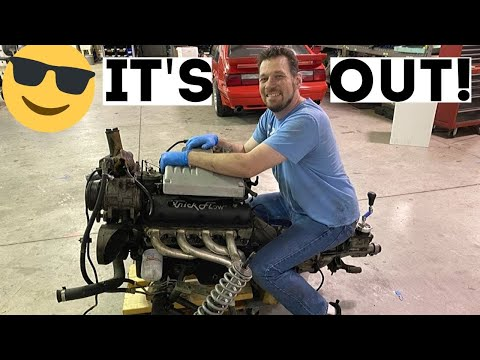 DROPPING AN ENGINE FROM THE BOTTOM OF A FOXBODY SSP COUPE NOTCH MUSTANG…MOTOR REMOVAL PART 3