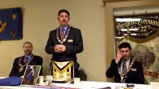 RW David Eaton speaks at a Table Lodge held in his honour on the 4th of April, 2014