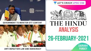 26th Feb 2021 | The Hindu Newspaper Analysis | Current Affairs | UPSC CSE/IAS 2021 | Saurabh Pandey