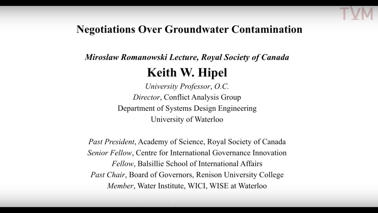 Negotiations Over Groundwater Contamination By Keith W Hipel Youtube