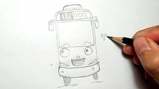CARA MENGGAMBAR TAYO BIS KECIL / How to Draw Tayo The Little Bus