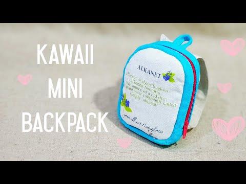 How to make a kawaii mini backpack with zipper Tutorial💙 可爱迷你小背包教学💙